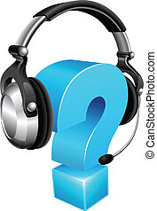 Question mark wearing headset - Question mark wearing a...