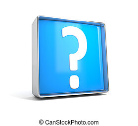 Question mark- web button isolated on white background