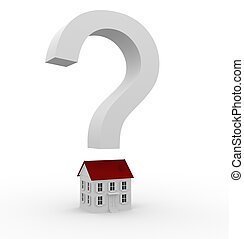 White sign on a question over the house. 3d render illustration