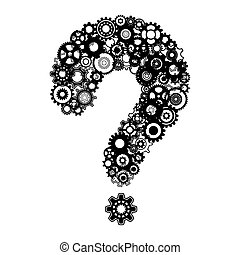Question mark with cog wheels - Abstract vector black...