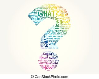 Question mark, word cloud background - Question mark -...