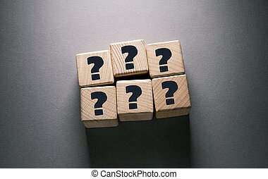 Question Mark Word with Wooden Cubes