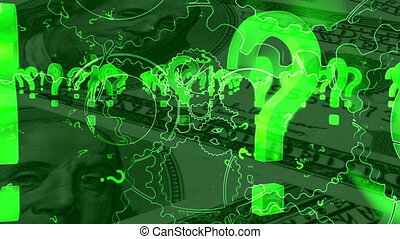 Question marks and American money looping background -...