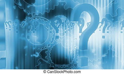 Question marks and gears loop in blue - Animated CG question...
