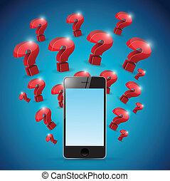 question marks around phone. illustration