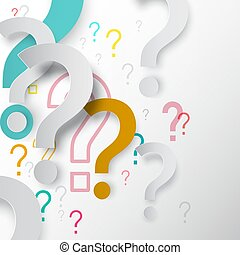 Question Marks Background. Vector Paper Cut Mystery Symbols.