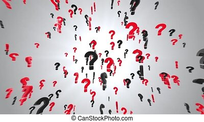 Question Marks Falling Down and Rotation in the Air Loop Background. Sign why, who, what, when, where words blast explosion. Take a decision. question Answer. Puzzle, doubt, confusion, thinking.