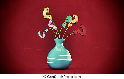 question marks in a vase