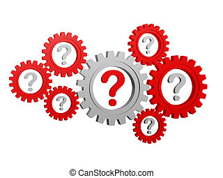 question-marks in gearwheels - question-marks - red and grey...