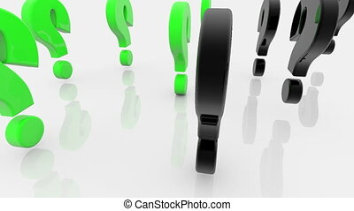 Question marks in green and black colors on white