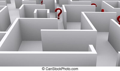 Question marks in the maze. Confusion and chaos.