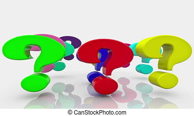 Question marks in various colors