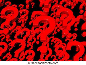 Question marks on black 3d render