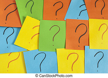 question marks on sheet of paper