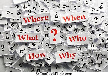 question marks - lot of question marks on white papers -hard...