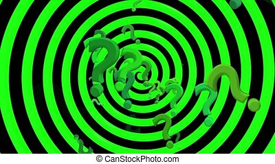 Question marks with rotating spiral in green color