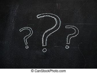 question, noir, tableau, marques
