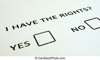 Question of human rights, questionnaire with checkboxes