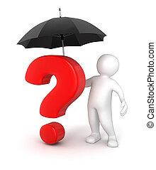 question, parapluie, homme