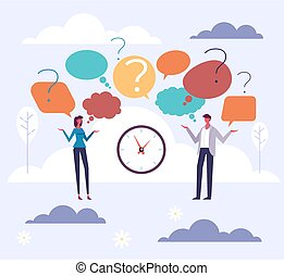 Question people brainstorm concept. Vector flat graphic design cartoon illustration