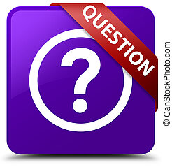 Question purple square button red ribbon in corner