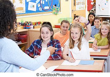 question réponse, pupille, femme, élémentaire, classe