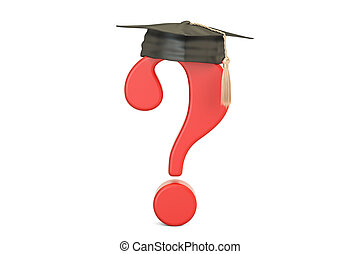 question, remise de diplomes, marque, casquette, rendre, 3d