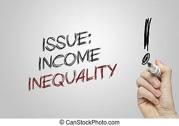 question, revenu, écriture, inégalité, main