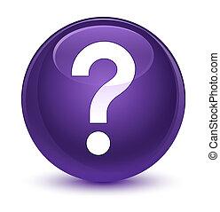 question, rond, vitreux, bouton, marque, icône, pourpre