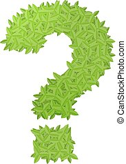 Question sign consisting of green leaves