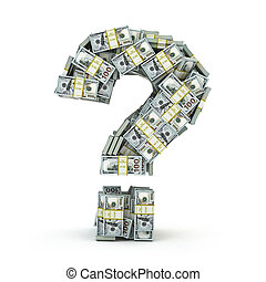 Question sign from packs of dollar isolated on white.