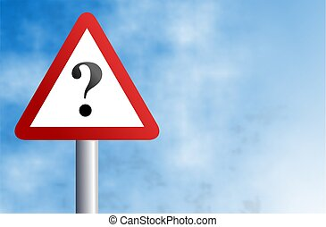 question sign - warning sign with question mark against a ...