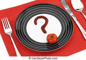 question, sur, nourriture