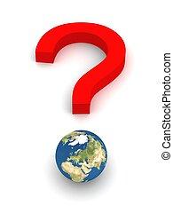 question, symbolique, terre rouge, marque