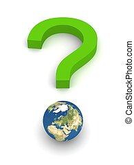 question, symbolique, terre verte, marque