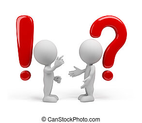 Explains one man - the other does not understand.3d image. Isolated white background.
