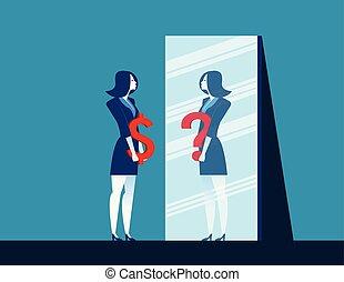 question, vecteur, marque, dollar, refléter, miroir, illustration., quoique, femme affaires, dépeindre, signe, confusion., concept affaires, plat