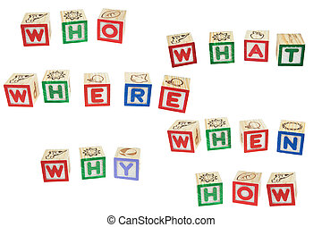 Question with Five W's One H, Who, What, Where, When, Why, How