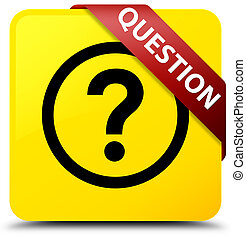 Question yellow square button red ribbon in corner