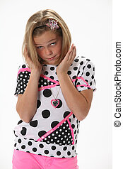 Questioning Surprised young girl - Ten year old female girl...
