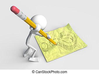 questionmark, karakter, tekening, 3d