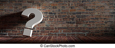 Questionmark on wooden floor and vintage brickwall background. 3d illustration