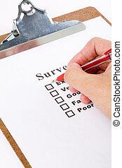 questionnaire and pen, business concept
