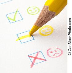 questionnaire check boxes smile, extreme closeup photo