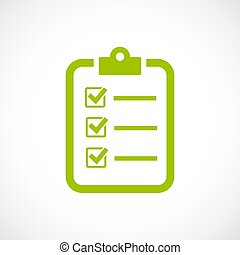Questionnaire check list vector icon isolated on white...