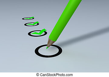 Questionnaire close-up - Filling the questionnaire with a...