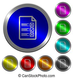 Questionnaire document luminous coin-like round color buttons