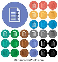 Questionnaire document round flat multi colored icons