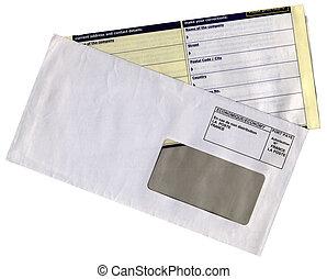 questionnaire, enveloppe, isolé, vide, formulaire