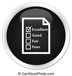 Questionnaire icon black glossy round button
